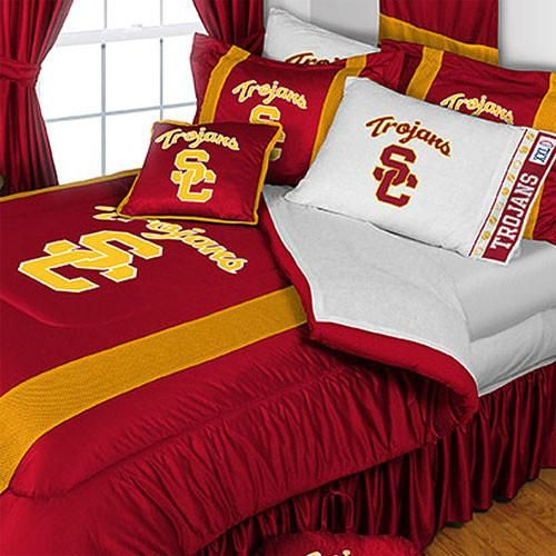 NCAA USC Trojans Comforter and Pillowcase Set University of Southern California College Logo Bedding: Twin