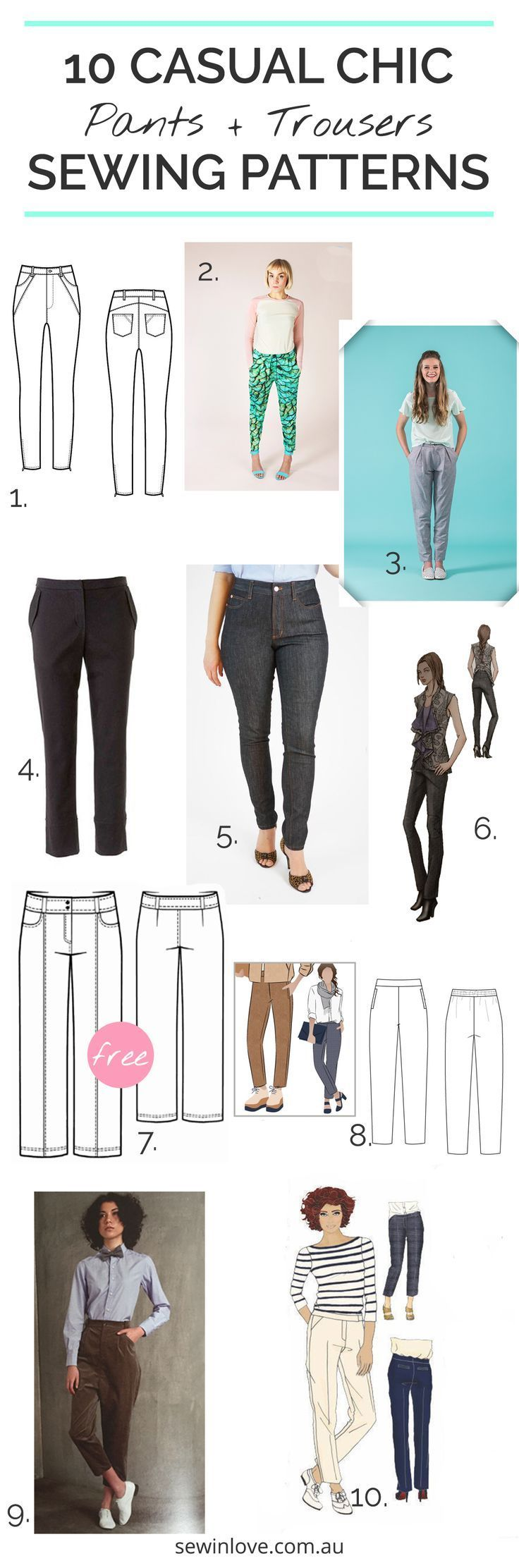 10 Pants / Trousers Sewing Patterns   Looking to sew a pair of pants for yourself? Here's 10 casual and chic options for your handmade wardrobe.