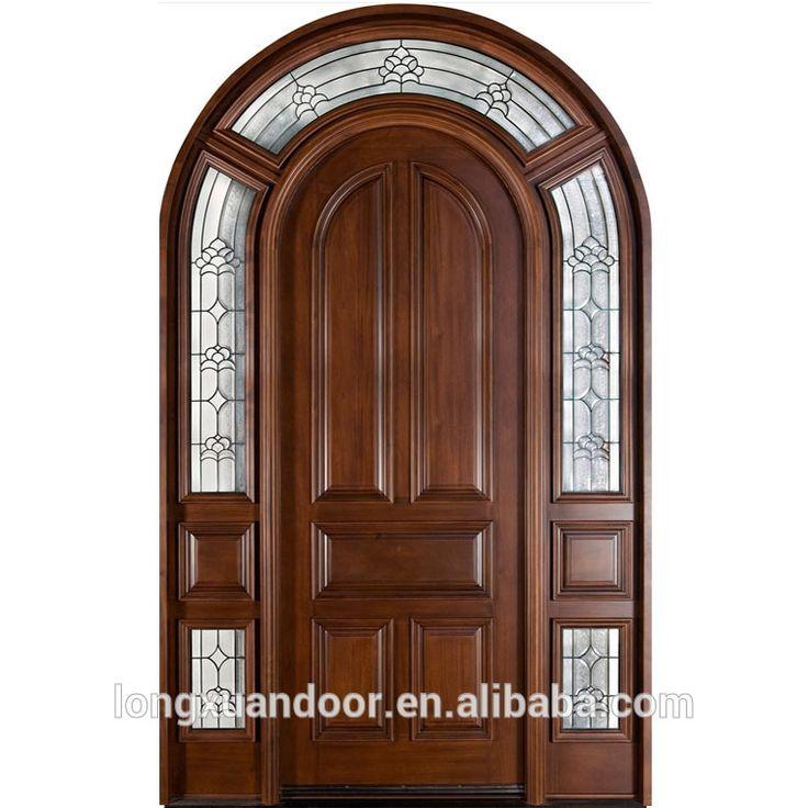 Arco de madera maciza puerta doble puerta de vidrio de for Puertas de cristal para entrada principal