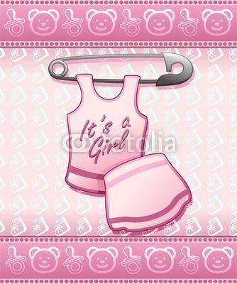 ❀NEW!❀ #Baby #Shower it's a #Girl-#Annuncio #Nascita #Femmina #Bambina © bluedarkat      http://it.fotolia.com/id/48606477#