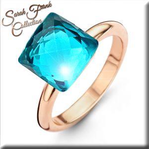 Ring mit Kristall blau - Edelstahl