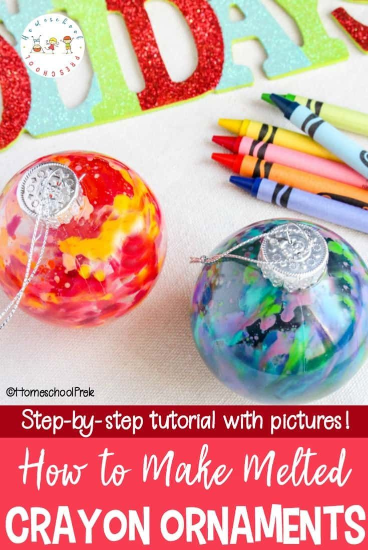 Kids will love the watercolor look of these melted crayon Christmas ornaments. They'll also love how easy they are to make. What a perfect motor skill builder! #christmas #christmasornaments #kidscrafts #meltedcrayonchristmasornaments #kidmadeornaments #meltedcrayoncrafts #meltedcrayon via @homeschlprek