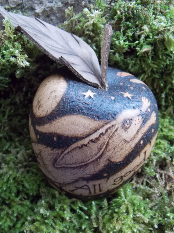 Wild and free wooden apple with pyrography by salixpyrography