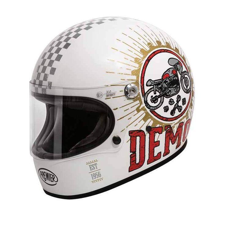 """Trophy Speed Demon 8 BM"" by PREMIER HELMETS. Nice retro full face helmet with matt white finish and graphics. ECE standard motorcycle helmet."