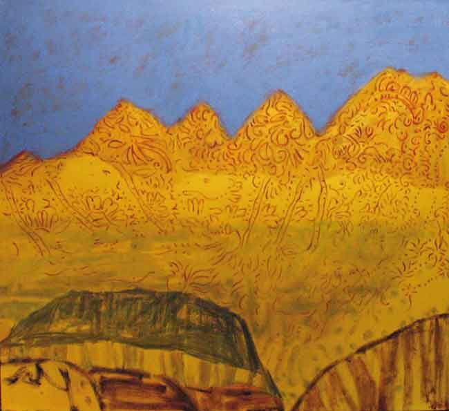 © Jo Bertini ~ Desert Script - Mehndi ~ 2006 Oil on canvas at Tim Olsen Gallery Sydney Australia