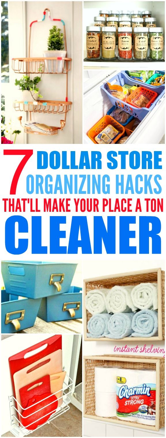 These 7 Dollar Store hacks from the experts are THE BEST! I'm so glad I found these AMAZING tips! Now my home will looks so less cluttered! I'm SO pinning for later!