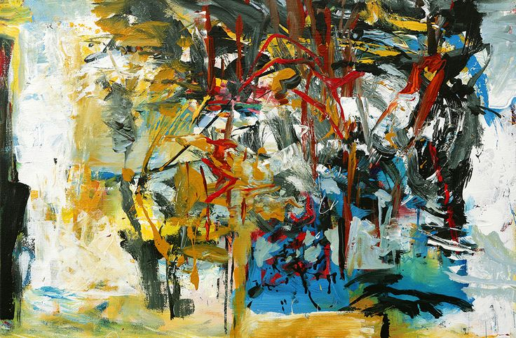 """Abstract Painting by Veronica Plewman - A Stand of Trees in Snow, 2014 Acrylic on Canvas, 24"""" x 36"""""""
