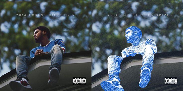 Album cover J Cole - Forest Hills Drive. (Links de originele)