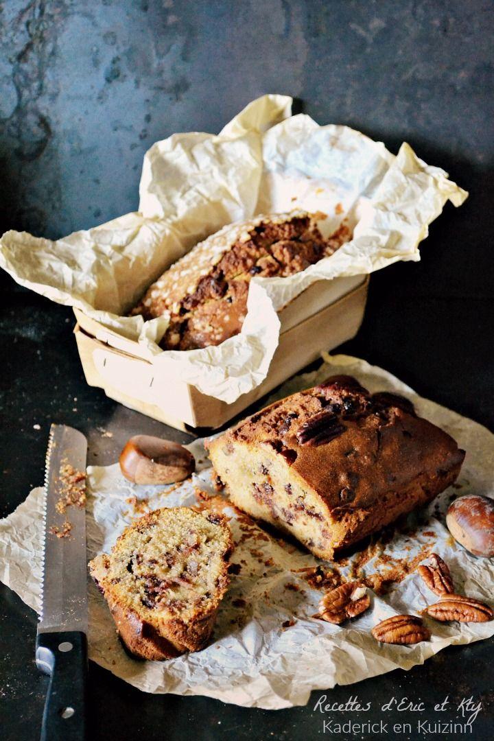 Cake moelleux à la crème de marrons, pépites de chocolat et noix de pécan