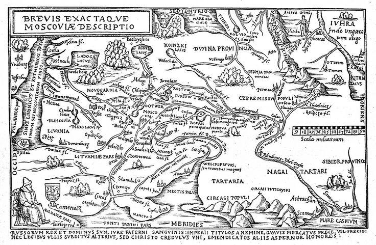 """Сигизмунд Герберштейн. """"Записки о Московии"""". Карта России по Герберштейну .Антверпенское издание 1557 года."""