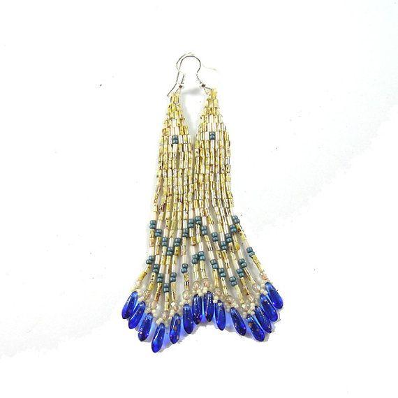 Agasga  Long ethnic style bugle bead earrings  by Taurieldesign, $22.00