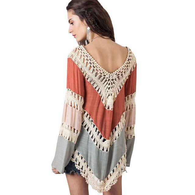 Kimono Boho Crochet Blouses