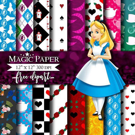 50% OFF SALE Alice in Wonderland Digital Paper от MagicPaperStore