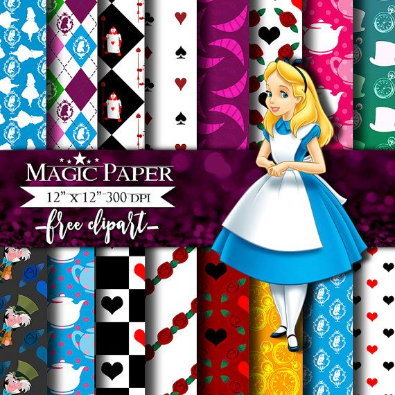 50% OFF SALE Alice in Wonderland Digital Paper от MagicPaperStore