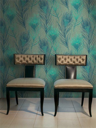 Arnott Feathers Wallpaper in Greens design by Carl Robinson