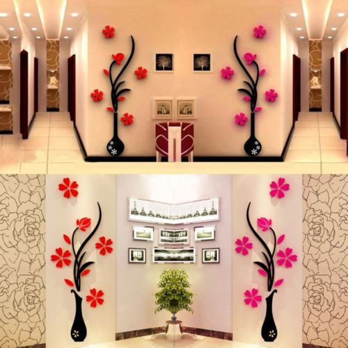 Best 3D Vase Removable Flower Tree Crystal Acrylic Wall Sticker 400 x 300