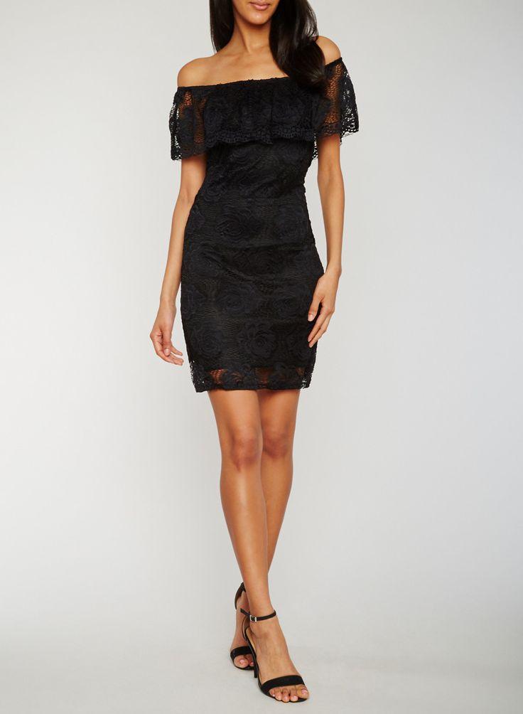 Off the Shoulder Lace Peasant Dress,BLACK