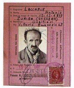 patente di antonio ligabue, quando ancora portava il cognome del patrigno (laccabue)