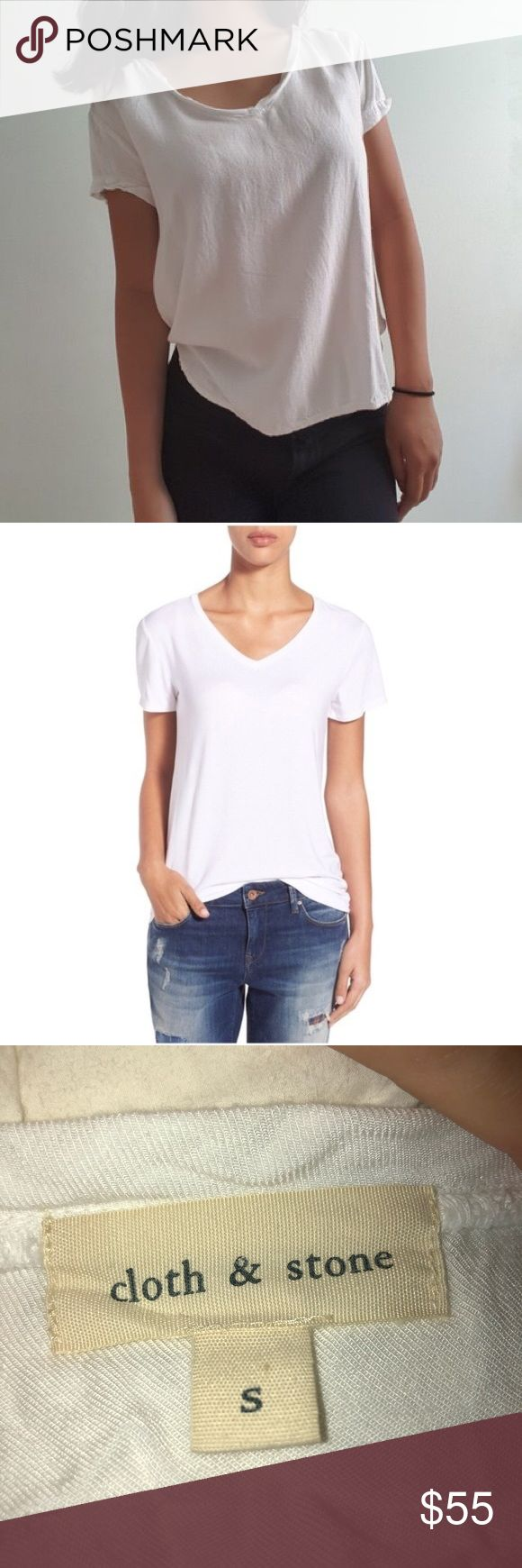 Cloth & Stone white Vneck shirt from Anthropologie CLOTH & STONE relaxed white v…