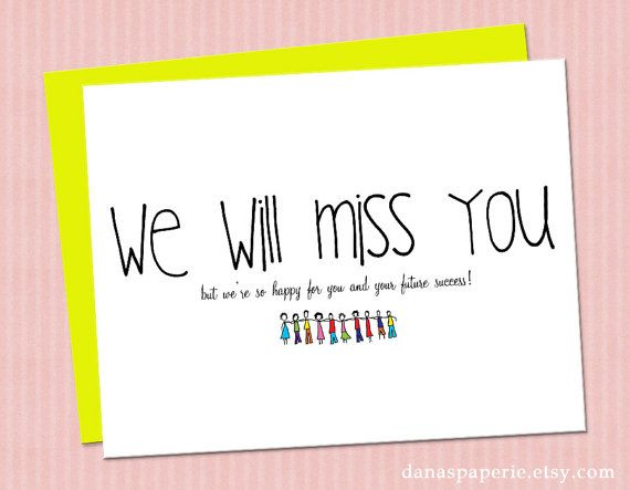 """INSTANT PRINT We will miss you card, cute miss you card, miss friends card, congrats on your new job, graduation - 4.25x5.5"""""""