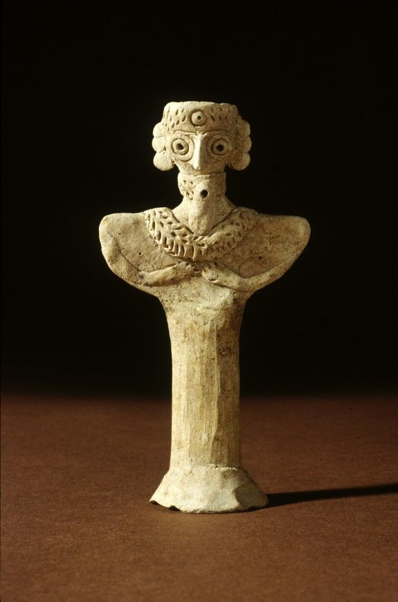 Terracotta Bearded Figurine w/Necklace, ca 2400-2000 BC. North Syria