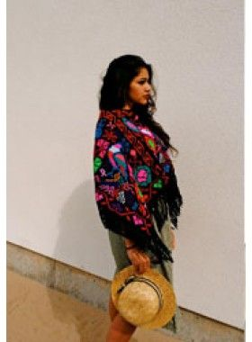 Crafty Cloth Handmade Half Length Poncho. Buy @ http://thehubmarketplace.com/Handmade-Half-Length-Poncho-Pink-Black