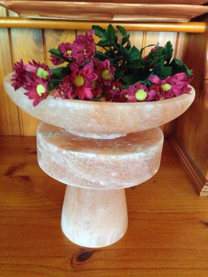The Centerpiece,made from Himalayan salt,it's a 3 piece set consisting of a glass,a plate and a bowl $40 #himalayansalt #uniquegift #beautifulgift #unusualgift #anothercreativeideafromthepinksaltmine