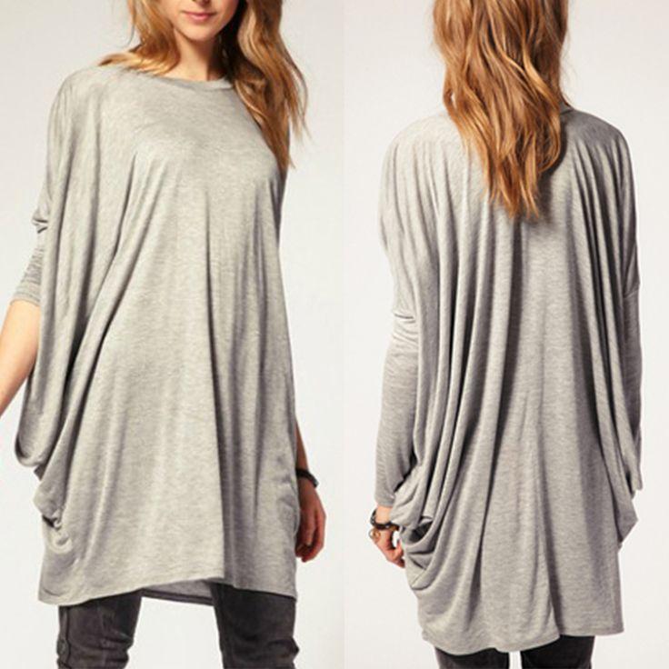 Women Batwing Sleeve Cotton Blend T Shirt Loose Long Top 4 Size Grey Black