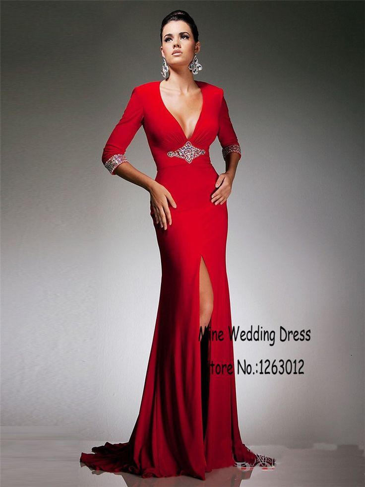 V шеи с полурукав русалка кристалл щелевая сексуальная красные вечерние платья вырез с открытой спиной шифоновое платья с бисером
