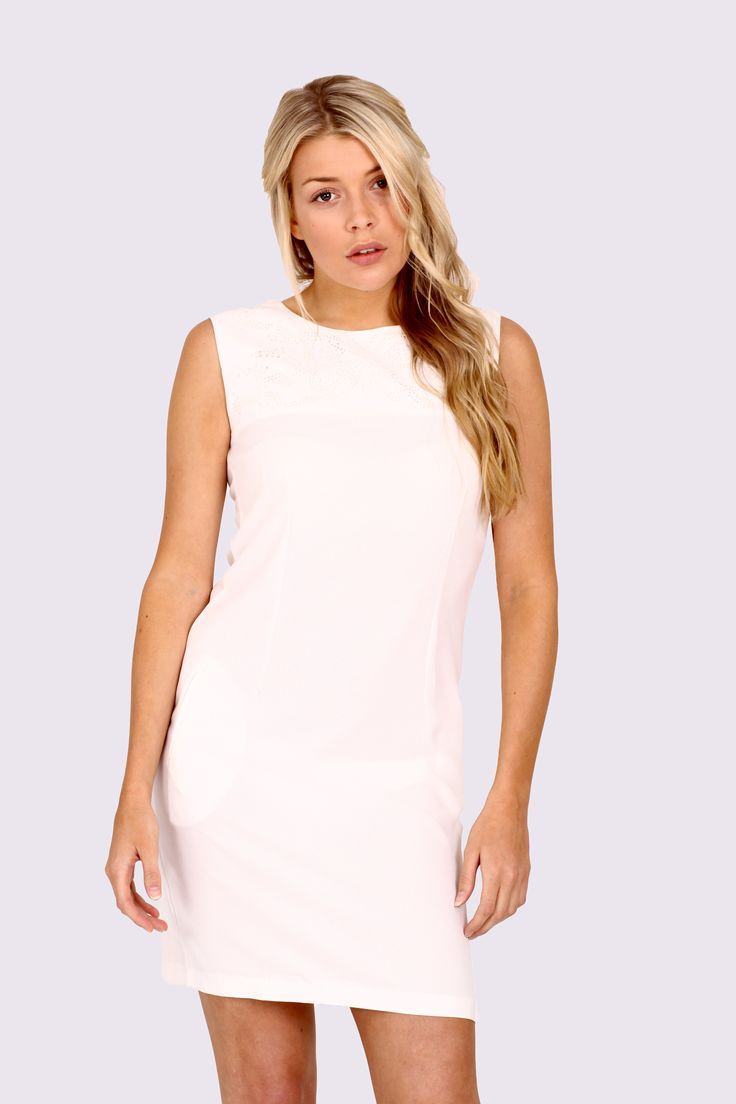 Cream shift dress simply classic sleeveless dress that will go anywhere and look stunning