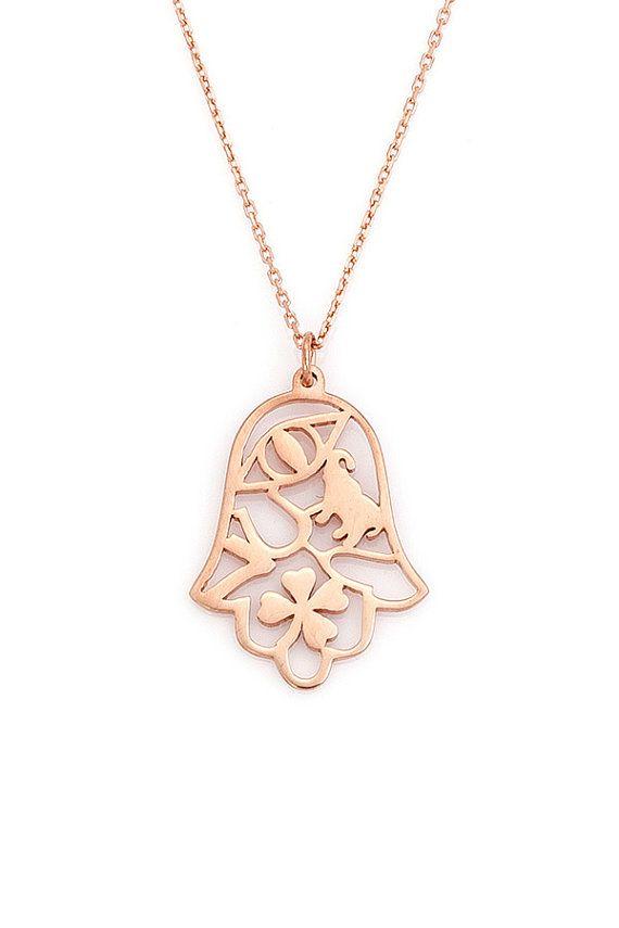 Good Luck Hamsa Necklace / Lucky Hamsa - Elephant - Clover - Horseshoe - Wishbone - Seven - Evileye Necklace / Good Luck Necklace on Etsy, $29.00