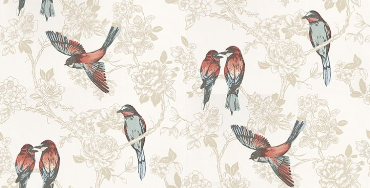 Songbird Vintage (1616/284) - Prestigious Wallpapers - An elegant and bold wallpaper design featuring stylised birds on a trailing floral background. Shown here in beige and cream with multi coloured birds.Other colourways are available. Please request a sample for a true colour match. Paste-the-wall product.