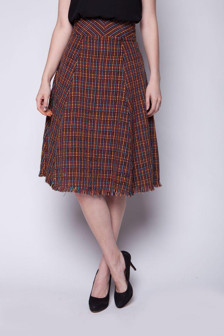 Lekat Flare Midi Skirt Tenun