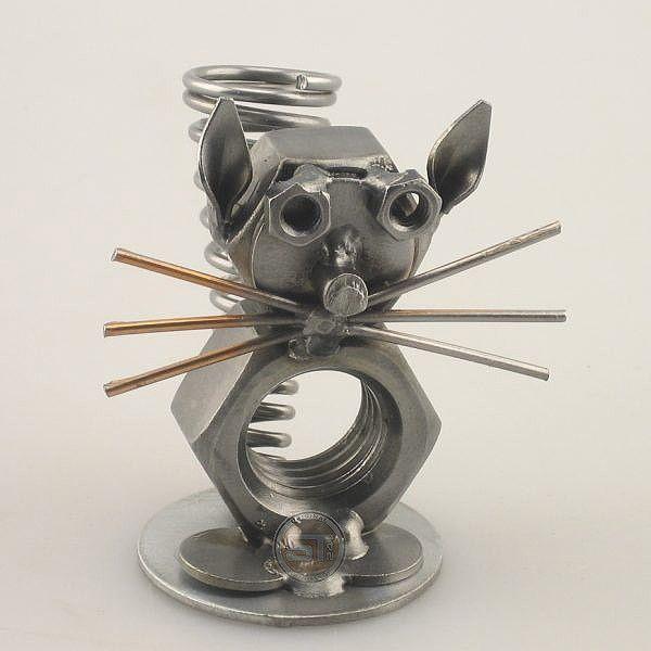 IJzersterkegeschenken.nl - Cadeau beeldje - Pennenstandaard Kat - t2603 - Origineel cadeau - Unieke metalen beeldjes