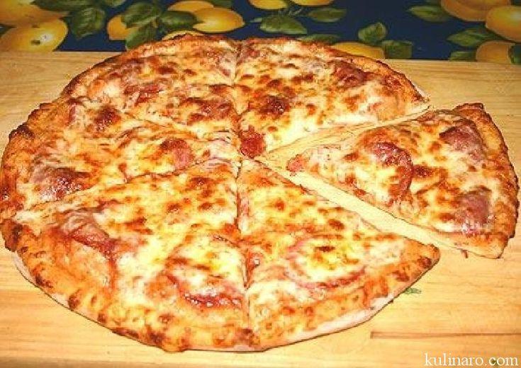 Рецепт пицца колбаса, сыр, грибы, огурцы
