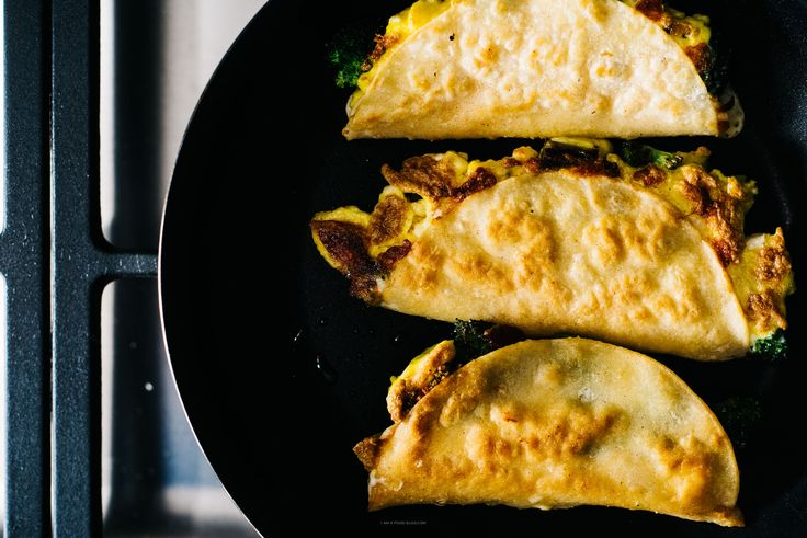 ... quesadillas filled with broccoli, cheddar and scrambled eggs
