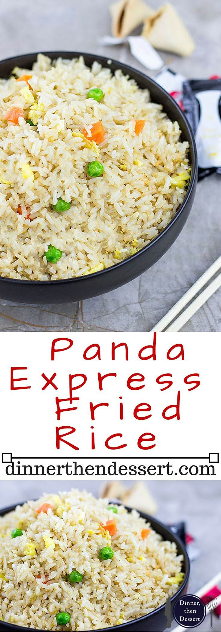 Panda Express Fried Rice is the most popular side ordered and with good reason. Salty and savory, with veggies mixed in the rice is a great counterpart to your favorite two entree plate...at home! #chinesefoodrecipes