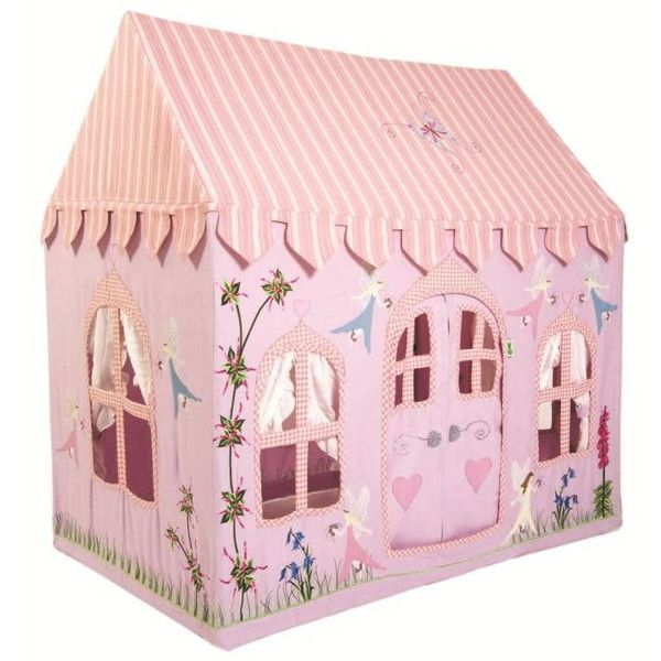Our Fairy Cottage Play Tent Offers an enchanted place for little ones to engage in magical play. Embroidered fairies and flowers to the adorable details seen on