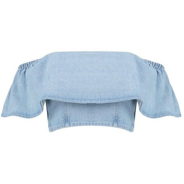 Boohoo Womens Sadie Denim Ruffle Off The Shoulder Top at Amazon... (345.150 IDR) ❤ liked on Polyvore featuring tops