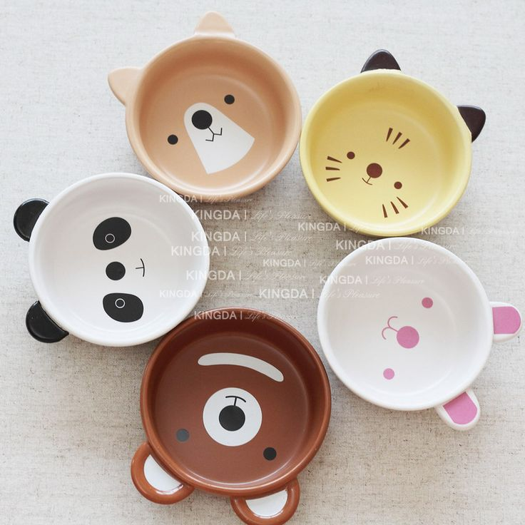 Japanese ceramic tableware - fun animal faces in bowls