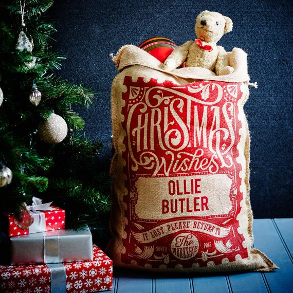 The Red Rowland Personalised Christmas Sack by HandmadeChristmasCo