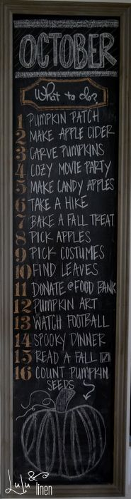 october and fall chalkboard wall. bucket list for fall.