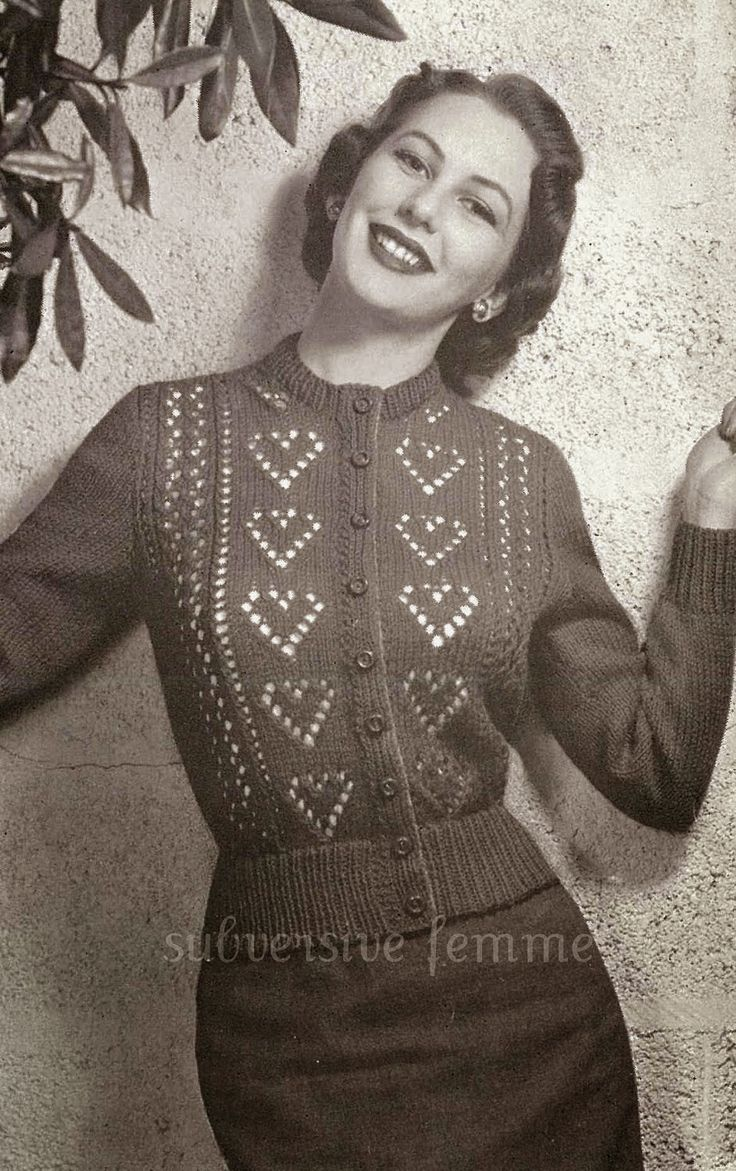 Vintage Follies: Finished knit #6: Ten of hearts