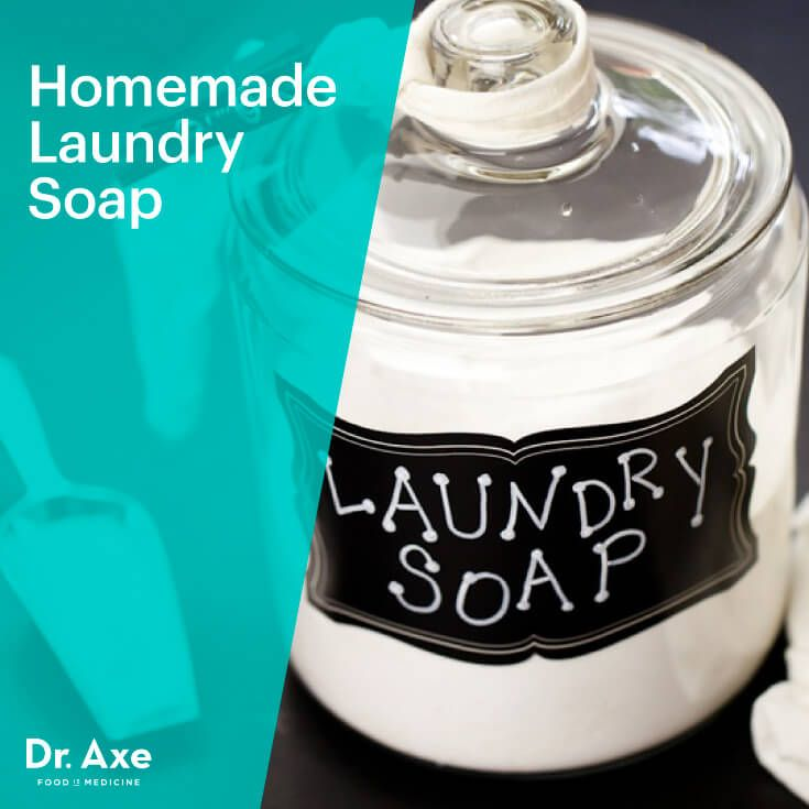 Homemade Laundry Soap1 bar of grated Castille Soap Bar or I like to get a deal and buy them in bulk here 2 cups Borax 2 cups Washing Soda 1 cup baking soda 15 drops lavender essential oil 15 drops peppermint essential oil DIRECTIONS:  Combine all ingredients and store in an air tight container Use 1/4 cup per large load (adjust accordingly)