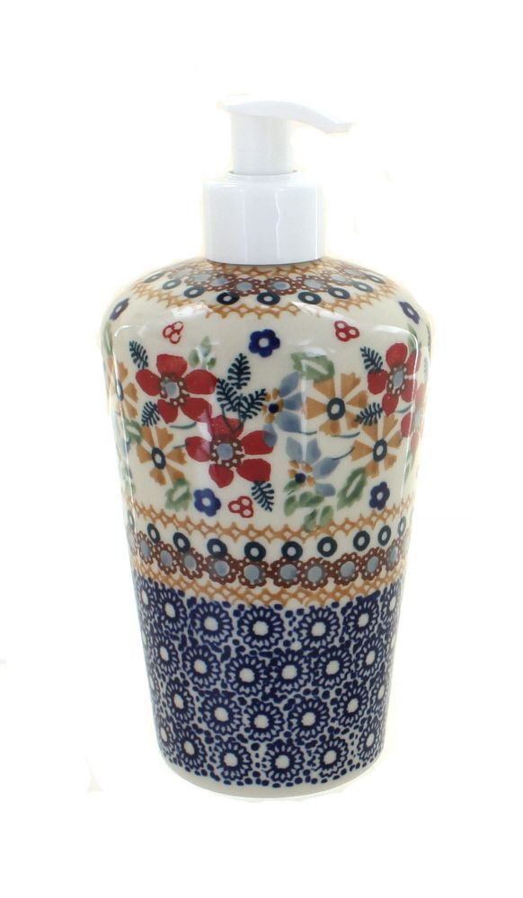 Red Daisy Soap Dispenser - Blue Rose Polish Pottery