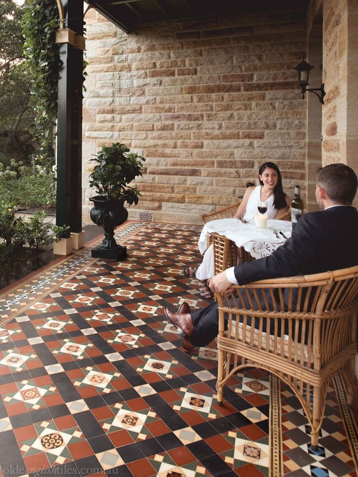 Olde English Tiles – Westminster pattern with the Special custom border. Gorgeous Verandah Heritage Tessellated Tiles