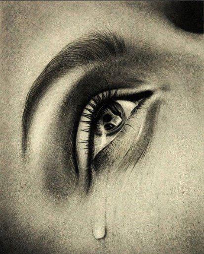 *Fisain, graphite : une larme coule siencieusement....