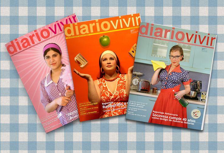 Diseño Editorial, revista DIARIO VIVIR para clientes SOCOVESA. Periodo 2003/2007 Nº 1 al 14.