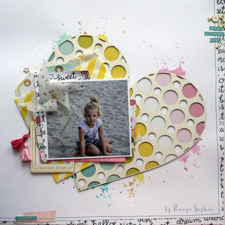 Scrapbook layout by Ranga Sophie  #scrapbook #scrapbooking #layout #rangasophie #heart #nöicsizmadesign