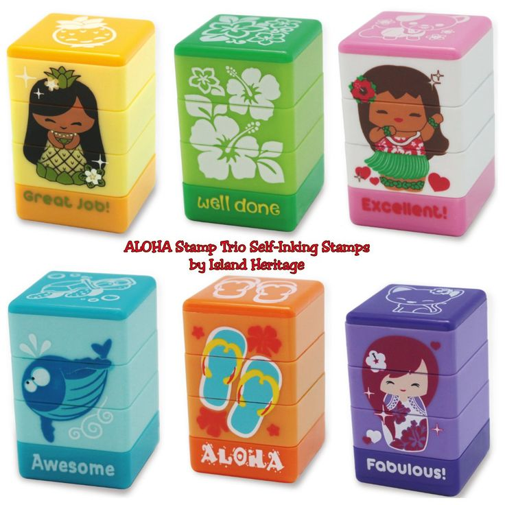 Complete Set of 6 - Aloha Stamp Trio Sets by Island Heritage - Beach Icons, Floral, Marine Life, Pua, Mai, & Aloha Self-Inking Stamps